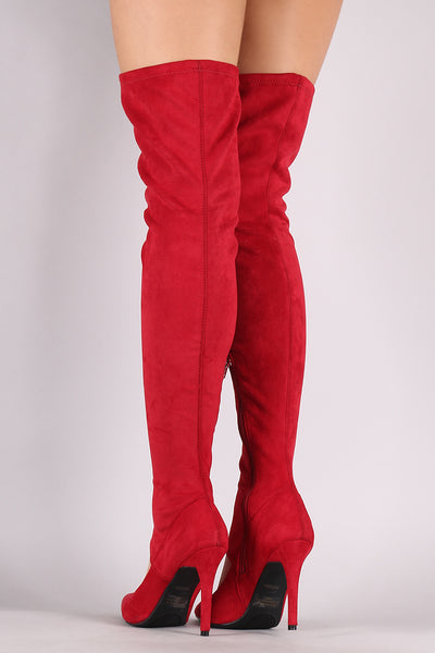 Suede Cutout Stiletto Over-The-Knee Boots For Women By Anne Michelle | Women Fashion Suede Cutout Stiletto Over-The-Knee Boots For Women Red or Black Synthetic Suede Cutout Stiletto Over-The-Knee boot For Women