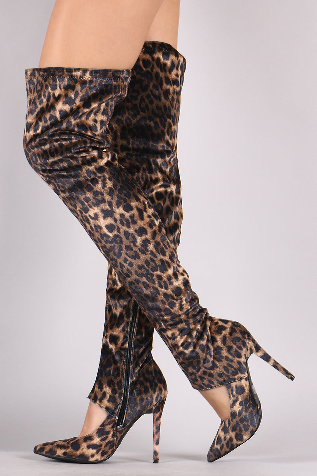 Cutout thigh High Boots For Women By LUD | Shop Women's Fashion Leopard Cutout Stiletto Over-The-Knee Boots For Women SexXxy thigh High Boots