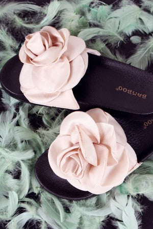 Rosette Applique Slide Sandal For Women By Wild Bamboo | Shop Women's Fashion Wide Satin Band Open Toe Silhouette Satin Oversized Rosette Applique Slide Sandal