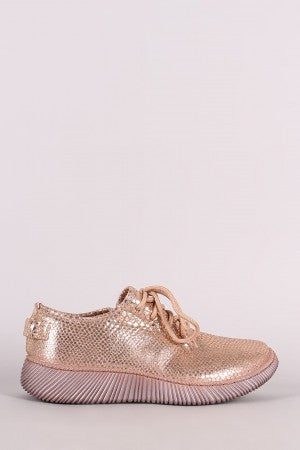 Snakeskin Lace-Up Sneakers For Women By Bamboo | Shop Women's Fashion Snake skin Embossed Prints, Lace Up Sneaker  Ribbed Outsole