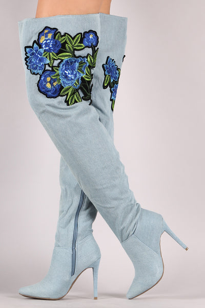 Denim Stiletto Boots For Women By Anne Michelle | Women Fashion Floral Patch Over-The-Knee Denim Stiletto Boots Women Boots A Denim Upper Partial Inside Zipper Closure Pointed Toe Synthetic Lining Cushioned Footbed