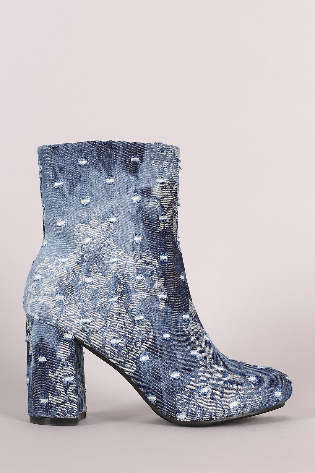 Distressed Denim Round Toe Chunky Heeled Booties