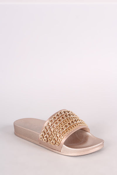 Open-toe Slip-on Sandal Slides By Vegan Leather | Chain Embellished Open Toe Slide Sandal