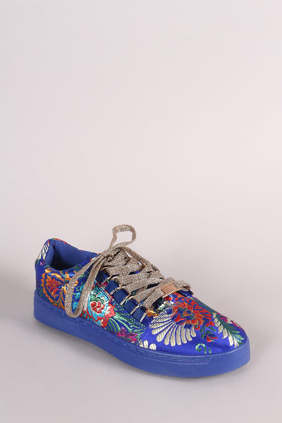 Bamboo Floral Brocade Low Top Glitter Lace Up Sneaker