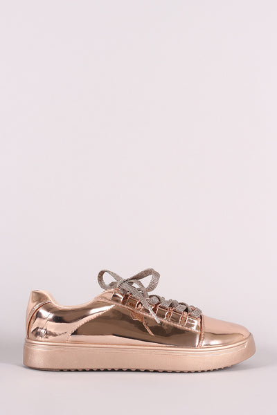 Glitter Lace Up Sneaker For Women By Bamboo | Shop Women's Fashion Metallic Rounded toe Silhouette Patent Low Top Glitter Lace Up Sneaker