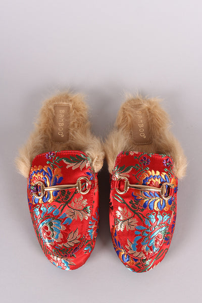 Bamboo Horsebit Ornament Floral Fur Lined Slide-On Mules