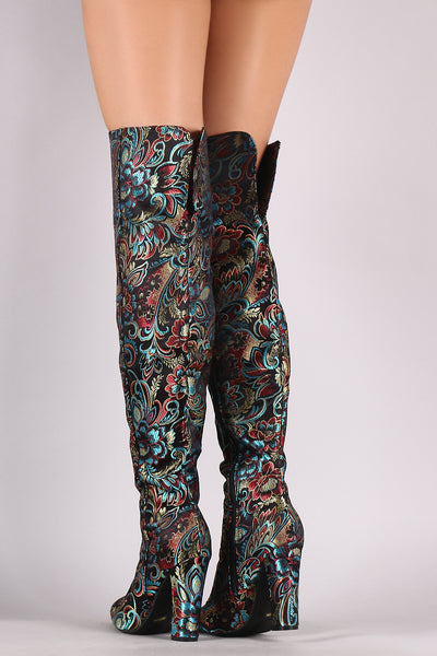 Bamboo Floral Brocade Pointy Toe Chunky Heeled OTK Boots
