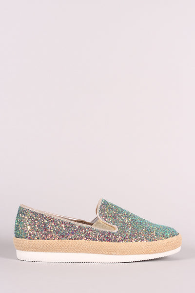 Bamboo Encrusted Glittery Slip-On Loafers