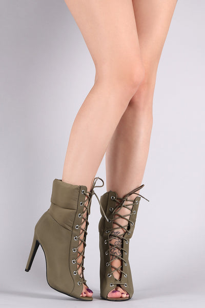Qupid Quilted Nylon Lace-Up Stiletto Booties