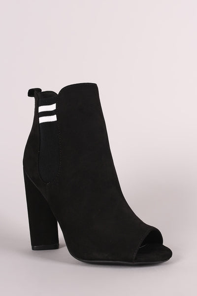 Qupid Suede Stripe Knit Inset Peep Toe Chunky Heeled Ankle Boots