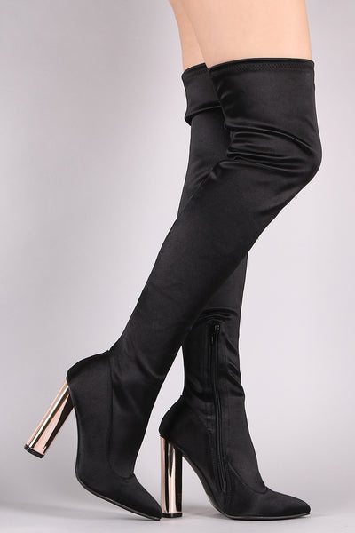 Metallic Heeled OTK Boots For Women By Qupid | Shop Women's Fashion Stylish Boots Stretched Elastane Pointy Toe Chunky Metallic Heeled OTK Boots