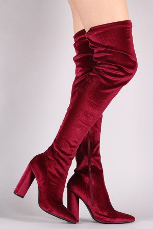 Chunky Heeled Boots For Women By Qupid | Women's Fashion Stretchy Velvet Pointy Toe Over The Knee Boots