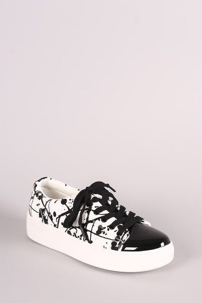 Splatter Paint Round Toe Lace-Up Platform Sneaker