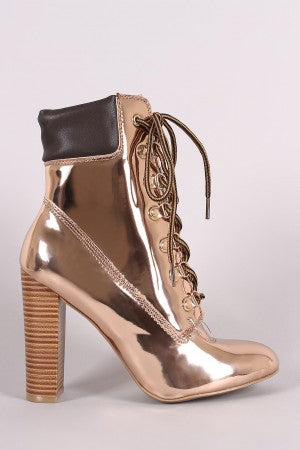 Wild Diva Lounge Patent Combat Lace-Up Chunky Heeled Ankle Boots