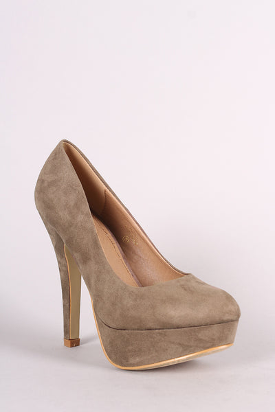 Platform Pump For Women By LUD | Shop Women's Fashion Lovely Stylish Fashionable Suede Round Toe Scoop Vamp Wrapped Stiletto Heel Tribute Platform Pump