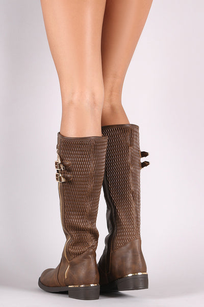 Zipper Trim Riding Knee High Boots For Women By LUD | Shop Women's Fashion Buckled Stitchwork Zipper Closure For Easy On/Off Trim Riding Knee High Boots