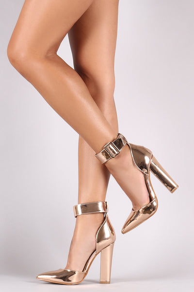 Shoe Republic LA Metallic Patent Pointy Toe Chunky Heeled Pump