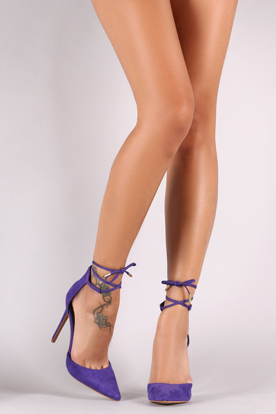 Shoe Republic LA Suede Pointy Toe Ankle-Tie Stiletto Pump