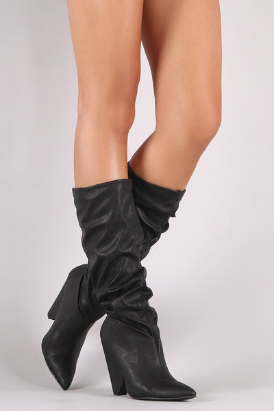 Western Chunky Heeled For Women By Qupid | Shop Women's Fashion Lovely Stylish Pointy Toe Silhouette Slouchy Shaft Western Chunky Heeled Knee High Inspired Boots