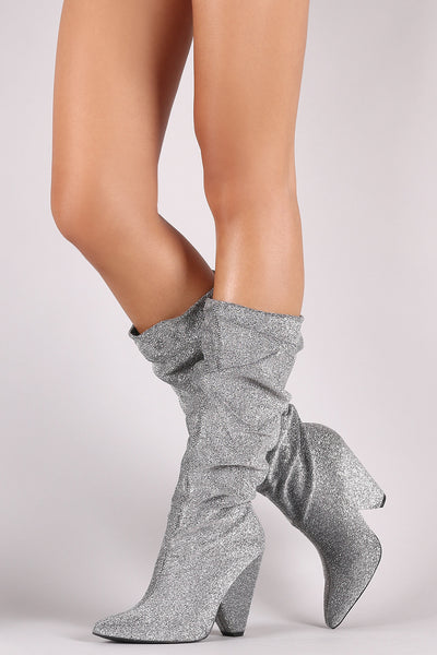 Qupid Foil Metallic Slouchy Western Chunky Heeled Knee High Boots