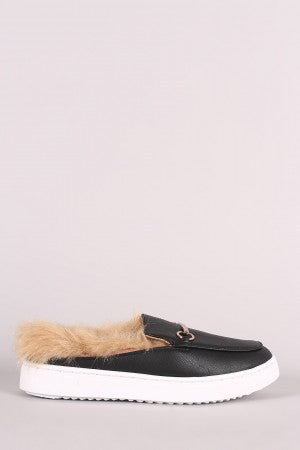 Bamboo Fur-Lined Sneaker Mules