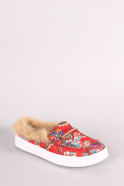 Floral Brocade Fur-Lined Sneaker For Women By Bamboo | Women Cozy Sneakers Feature A Smooth Satin Upper With Floral Brocade Design And Cushioned Faux-fur Lined Insole Sneakers For Women