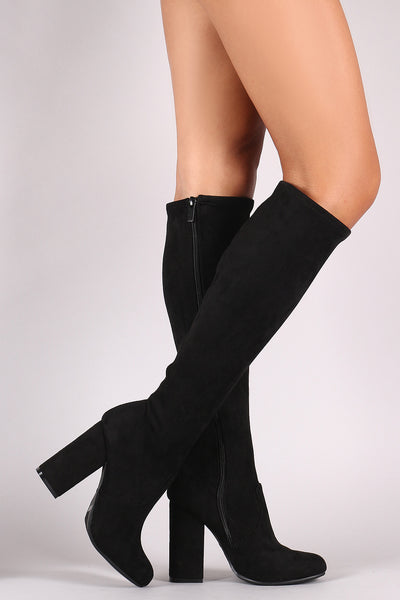 Bamboo Suede Round Toe Chunky Heeled Knee High Boots