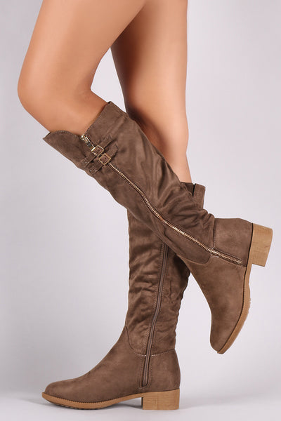 Suede Buckled Zipper Trim Riding Knee High Boots