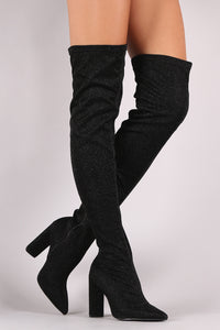 Qupid Foil Metallic Pointy Toe Chunky Heeled Over-The-Knee Boots