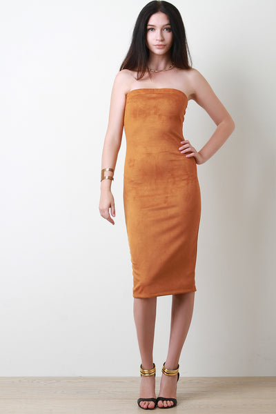 Vegan Suede Tube Fitted Midi Dress