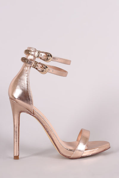 Metallic Double Ankle Strap Single Sole Stieltto Heel