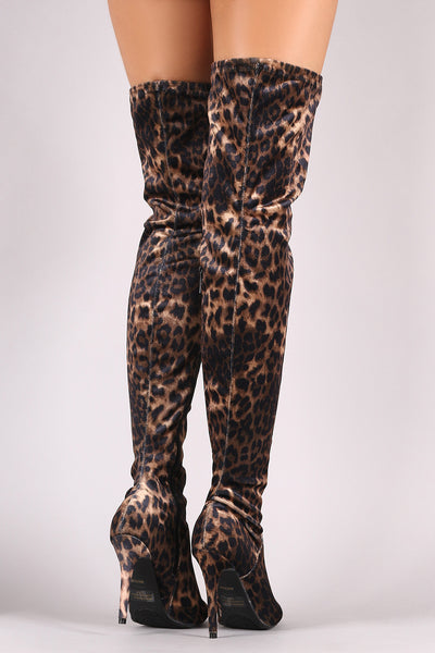 Over-The-Knee Boots For Women For Women By LUD | Shop Women's Fashion Leopard Pointy Toe Stiletto Wrapped Stiletto Heel Over-The-Knee Boots For Women