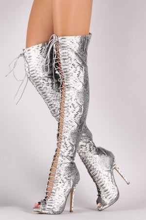 Python Heeled Over-The-Knee Boots For Women By Liliana | Shop Women's Fashion Stylish Python Vegan Leather Peep Toe Silhouette Lace Up Stiletto Low Platform Heeled Over-The-Knee Boots