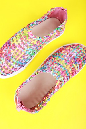 Colorful Kaleidoscope Print Woven Sneaker