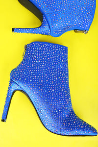 Rhinestone Accent Satin Booties For Women By LUD | Shop Women's Fashion Lovely Stylish Fashionable Rhinestone Accent Satin Pointy Toe Silhouette Rear Zipper Closure Wrapped Stiletto Heel Booties