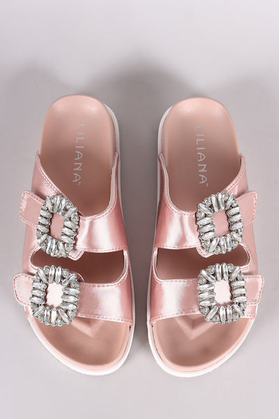 Double Band Slide Sandal For Women By Liliana | Shop Women's Fashion lovely Satin Rhinestone Embellished Open Toe Silhouette Double Band Hook And Loop Straps Slide Sandal