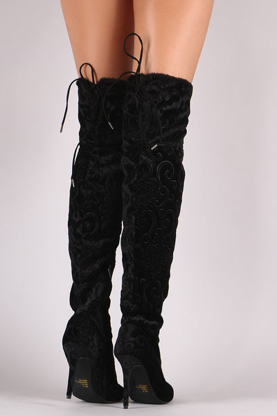 Qupid Burnout Velvet Fur Cuff Stiletto Over-The-Knee Boots