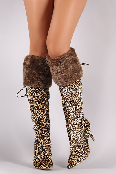 Leopard Velvet Over-The-Knee Boots For Women By Qupid | Shop Women's Fashion Lovely Stylish Leopard Velvet Faux Fur Cuff Pointy Toe Silhouette Corseting Lace-Up Slim Stiletto Over-The-Knee Boots