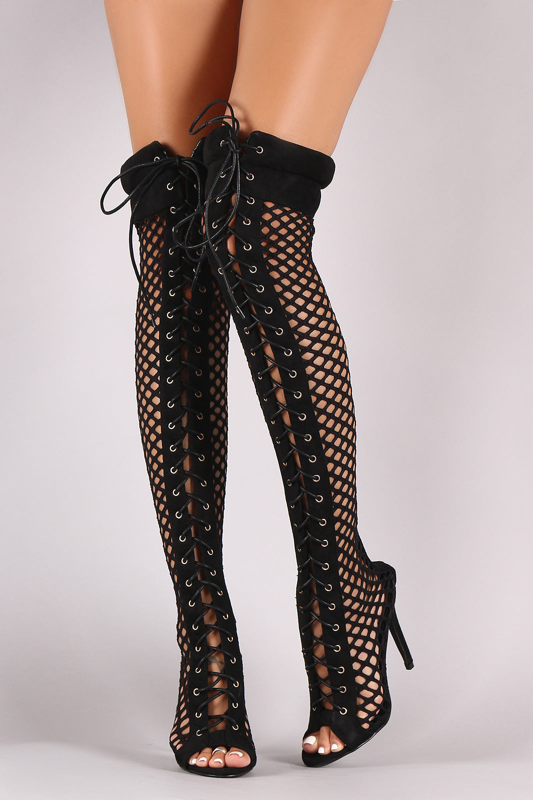 Suede Fishnet Lace Up Stiletto Heeled Over-The-Knee Boots