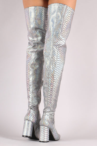 Chunky Heeled Over-The-Knee Boots For Women By LUD | Shop Women's Fashion Triking Boots A Holographic Snakeskin Upper With Elastic Gusset Insert Chunky Heeled Over-The-Knee Boots