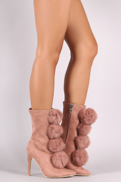 Slim Stiletto Booties For Women By LUD | Shop Women's Fashion Lovely Stylish Fashionable Vegan Suede Faux Fur Pom Pom Pointy Toe Booties Slim Stiletto Booties