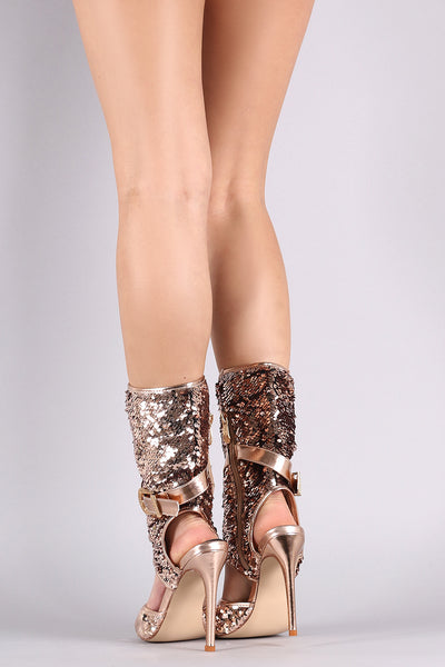 Sequin Buckle Ankle Strap Cutout Stiletto Boots