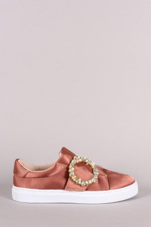 Qupid Jewels Embellished Buckle Strap Satin Low Top Sneaker