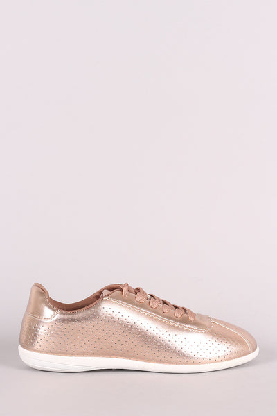 Perforated Metallic Sneaker For Women By Qupid | Women's Fashion Vegan Leather Upper Round Toe Silhouette Lace-Up Closure Perforated Metallic Lace-Up Sneaker