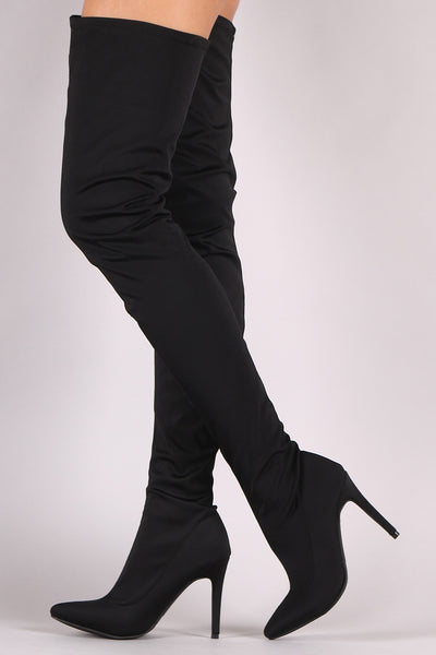 Elastane High Rise OTK Boots For Women By Wild Diva | Shop Women's Fashion Lounge Pointy Toe Elastane High Rise OTK Boots A Slightly Stretched Elastane Shaft Stiletto Heel Boots