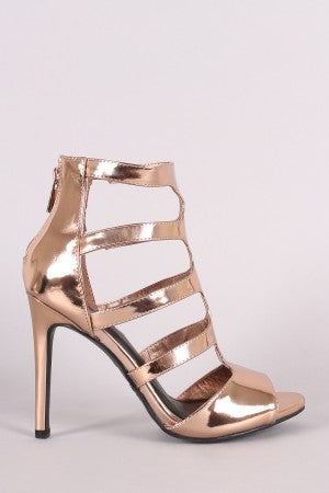 Metallic Patent Caged For Women By Anne Michelle | Women Fashion Metallic Patent Caged Cutout Peep Toe Stiletto Heel And S Slim Stiletto Heel For Women