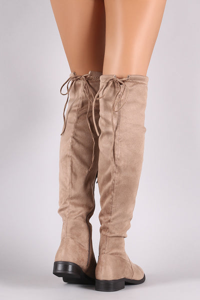 Suede Almond Toe Back Drawstring Tie Over-The-Knee Riding Boots