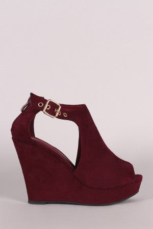 Suede Cutout Peep Toe Platform Wedge