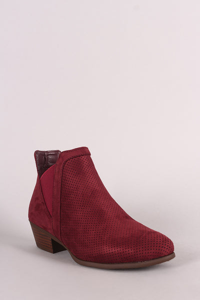 Perforated Suede Almond Toe Elastic Gore Chelsea Ankle Boots