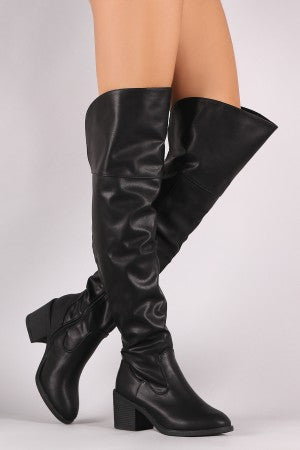 Over Knee Chunky Heel Boots By Vegan Leather | Bamboo Vegan Leather Round Toe Chunky Heeled Over-The-Knee Boots